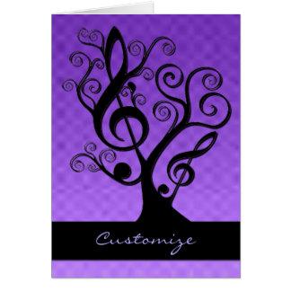 黒い及び紫色音楽ト音記号の木カード ノートカード
