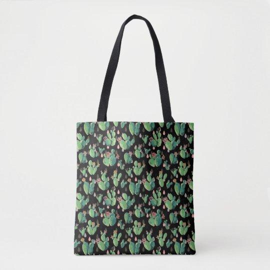 黒い及び緑のサボテンはトートバック咲きます トートバッグ