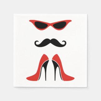 黒い及び赤の完全な一見 + あなたのアイディア スタンダードカクテルナプキン