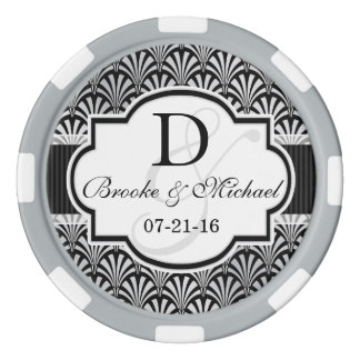 黒い及び銀製のヴィンテージのアールデコの結婚 ポーカーチップセット