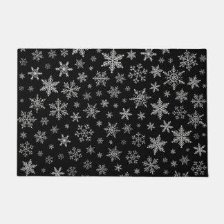 黒い及び銀製灰色モダンな雪片2 - ドアマット