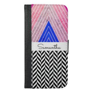 黒い名前のピンク、青、灰色色のデザイン- iPhone 6/6S PLUS ウォレットケース