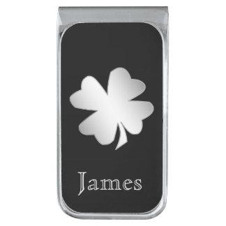 黒い名前入りの銀製のシャムロック 銀色 マネークリップ