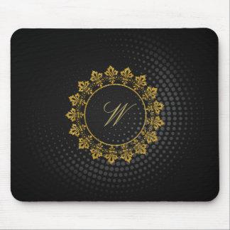 黒い回状の華美な円のモノグラム マウスパッド