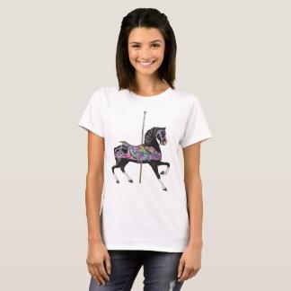 黒い回転木馬の馬 Tシャツ