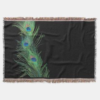 黒い土台の生命の緑の羽 スローブランケット