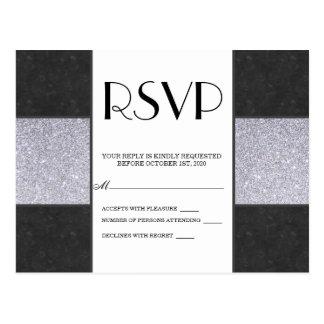 黒い大理石および銀のグリッターのパネルのデザイン ポストカード
