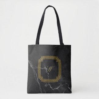 黒い大理石のシンプルな正方形のモノグラム トートバッグ