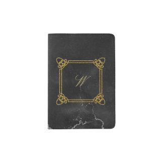黒い大理石のモダンな正方形のモノグラム パスポートカバー