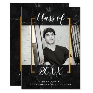 黒い大理石の卒業の写真の発表 カード