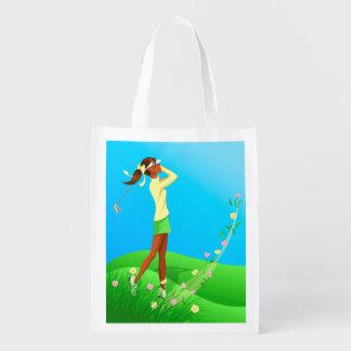黒い女性のゴルファーの春の再使用可能なトート エコバッグ
