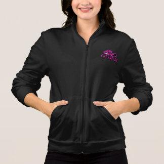 黒い女性及びピンクのCapoHeadsのフリースのジャケット