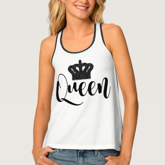 黒い女王の王室のな王冠の女の子の粋でシックなパターン タンクトップ