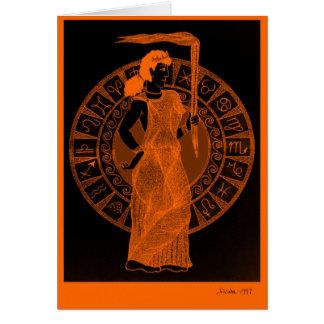 「黒い姿陶器」のスタイルのギリシャの女神 カード
