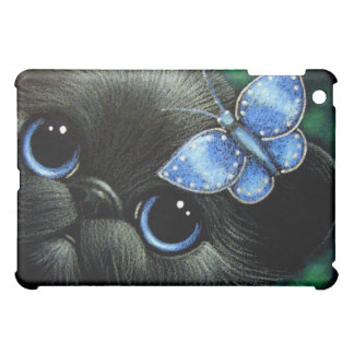 黒い子ネコ及びフレンドリーで青い蝶箱 iPad MINI カバー