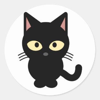 黒い子猫のハロウィンのトリックまたは御馳走ステッカー ラウンドシール