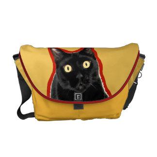 黒い子猫猫の愛らしいメッセンジャーバッグ クーリエバッグ