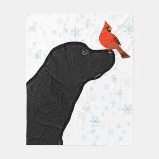 黒い実験室および(鳥)ショウジョウコウカンチョウのクリスマス フリースブランケット