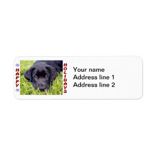 黒い実験室の子犬の幸せな休日の差出人住所ラベル ラベル