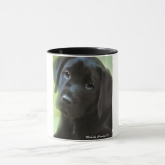 黒い実験室の子犬 マグカップ