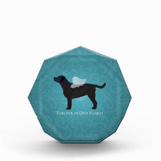 黒い実験室ペット記念の悔やみや弔慰ペット損失のデザイン 表彰盾