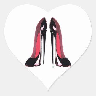 黒い小剣の靴 ハートシール