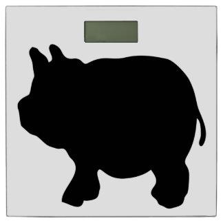 黒い小型ブタのシルエット 体重計