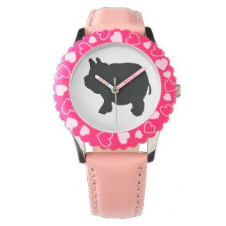 黒い小型ブタ 腕時計