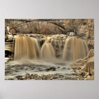 黒い川の西の滝、Elyria、オハイオ州 ポスター
