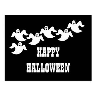 黒い幽霊のパーティーのハロウィンの郵便はがき ポストカード