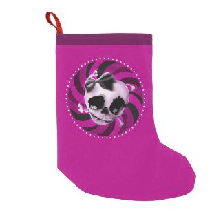 黒い弓が付いているガーリーなピンクのスカル スモールクリスマスストッキング