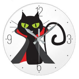 黒い悪魔猫パターンハロウィン ラージ壁時計