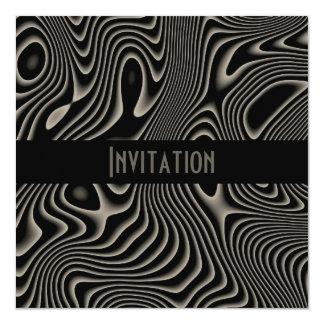 黒い招待状及び白いスタイルの抽象芸術のプリント カード