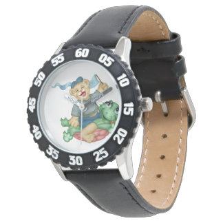 黒い数を用いるカメくまの漫画の斜面 腕時計