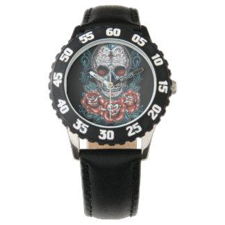 黒い数を用いるスカル及びバラの斜面 腕時計