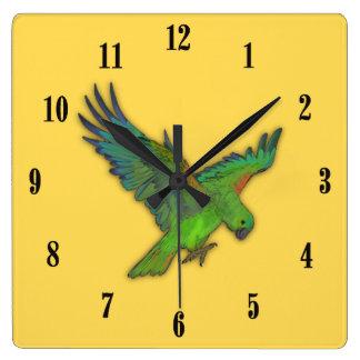 黒い数を用いるマスタードの黄色いオウム スクエア壁時計