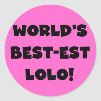 黒い文字ベスト米国東部標準時刻LoloのTシャツおよびギフト ラウンドシール
