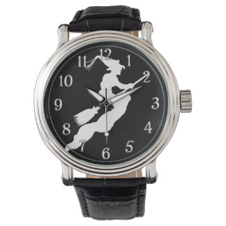 黒い文字盤のハロウィンの白人の魔法使い 腕時計