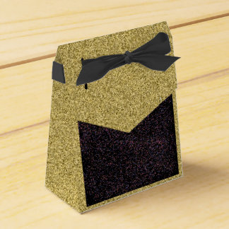 黒い斑入りのデザインの好意箱との金ゴールドFlecked フェイバーボックス