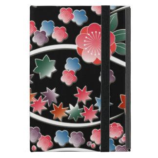 黒い日本パターンの様式化されたプラム花 iPad MINI ケース