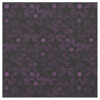 黒い星および紫色の点 ファブリック