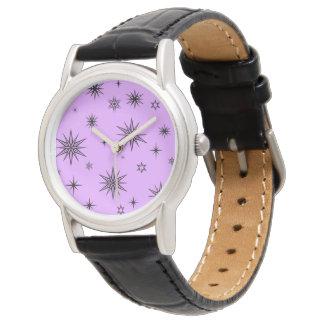 黒い星が付いている紫色の空 腕時計