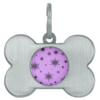 黒い星との紫色 ペットネームタグ