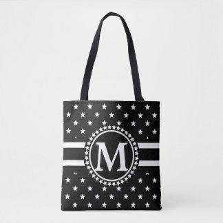 黒い星の愛国者のモノグラム トートバッグ