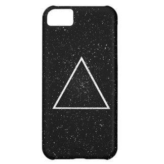 黒い星の背景の白い三角形の輪郭 iPhone5Cケース