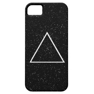 黒い星の背景の白い三角形の輪郭 iPhone SE/5/5s ケース