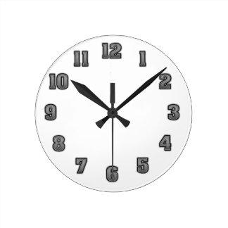 黒い時計のテンプレートの灰色 ラウンド壁時計