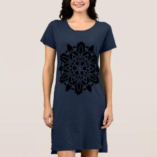 黒い曼荼羅の芸術の女の子の服青 ドレス