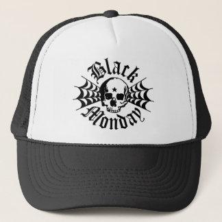 黒い月曜日の古い学校のスカルのトラック運転手の帽子 キャップ