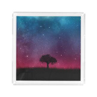 黒い木の宇宙の銀河系の宇宙の青いピンクの景色 アクリルトレー